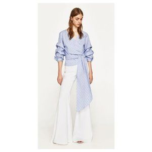 Zara Pleated Wrap Blouse with Bow S